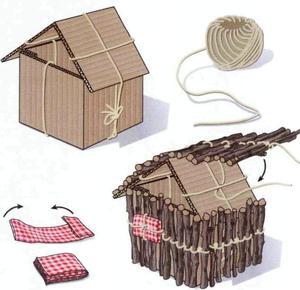 Как сделать домик из веточек пошаговая